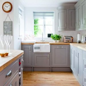 Beautiful grey kitchen decor - LOVE the gray cabinets and the white farmhouse sink